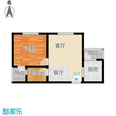 新城公馆51.48㎡户型1室1厅1卫1厨