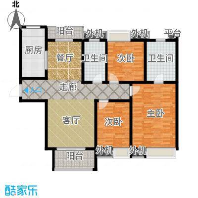 紫薇永和坊140.00㎡在售1/2号楼A户型 南北双阳台 主次卧飘窗设计户型3室2厅2卫