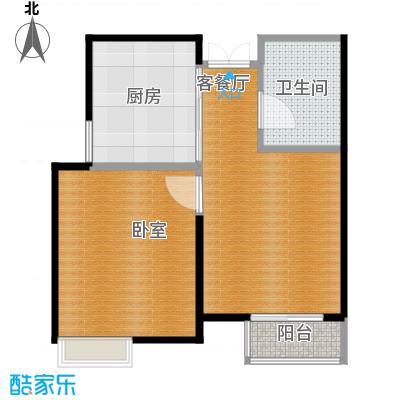 爱尚公寓64.00㎡户型1室2厅1卫