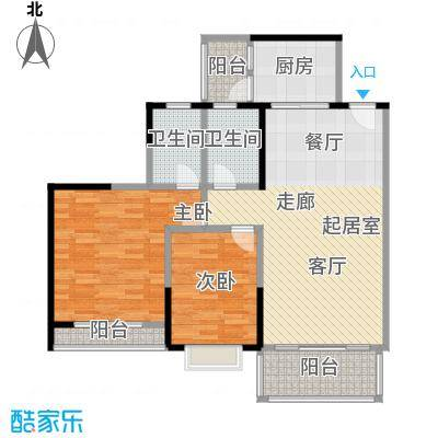 金竹家园90.28㎡04单位户型2室2卫1厨