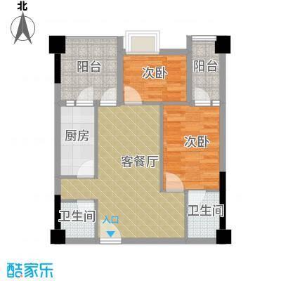 君和源66.99㎡1-22层户型2室1厅2卫1厨