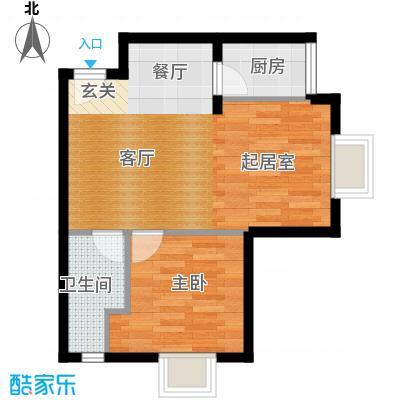 戴斯大卫营三期精装公寓A2户型 套内面积53.82平米 一室两厅一卫户型1室2厅1卫