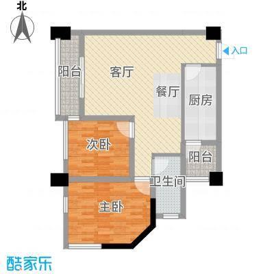 兰波红城丽景70.47㎡二期A3栋标准层B1'4号房户型2室1厅1卫1厨