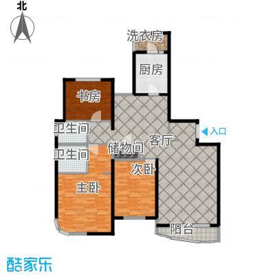 仁恒海河广场132.71㎡峰云阁--E1-户型3室2厅2卫