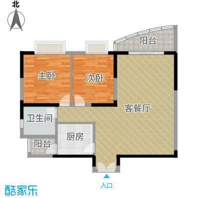 湘隆时代大公馆79.41㎡户型2室1厅1卫1厨