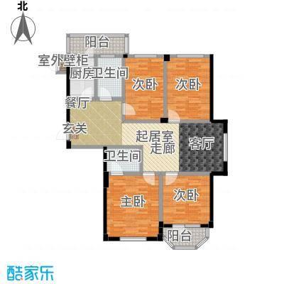 中信润泽园125.00㎡A1户型 4室2厅2卫1厨户型