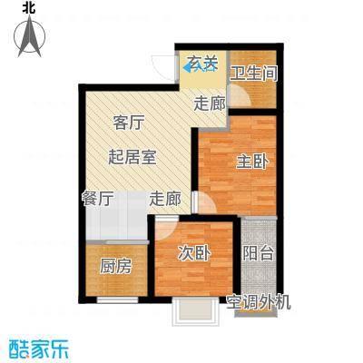 东方花园74.52㎡东方花园户型图G户型(2/9张)户型2室1厅1卫