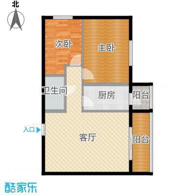 龙昌滨河源90.26㎡2D户型2室1厅1卫1厨
