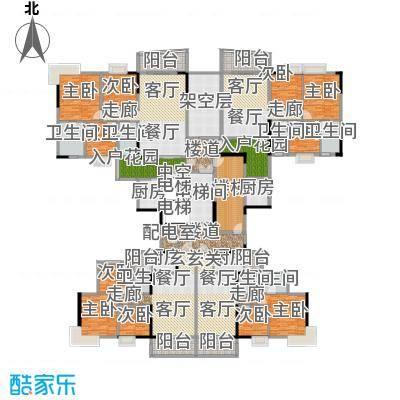青春11号楼标准层户型9室4厅7卫4厨