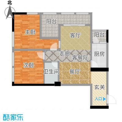 羲城蓝湾73.13㎡一期1号楼4-31奇数层E4户型2室1厅1卫1厨