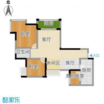 东原D7区90.25㎡4期6号楼E5+多功能阳台户型2室2厅1卫
