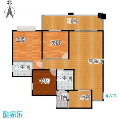 龙乡苑铜新花园103.84㎡2号楼C-2户型图 3室2厅2卫1厨103.84㎡户型3室2厅2卫
