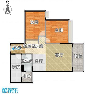 保利中辰广场84.00㎡B1栋01单元户型2室1卫1厨