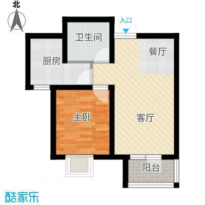 旷世新城64.50㎡G2户型1室2厅1卫
