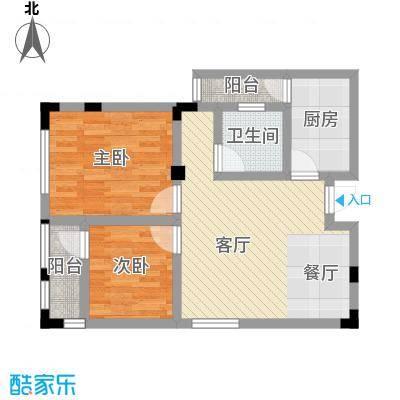 中御公馆59.75㎡3号楼C2户型2室2厅1卫
