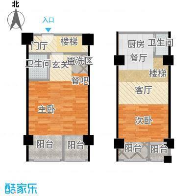 领秀公馆43.76㎡领秀公馆B1复式户型 2室2厅2卫1厨户型