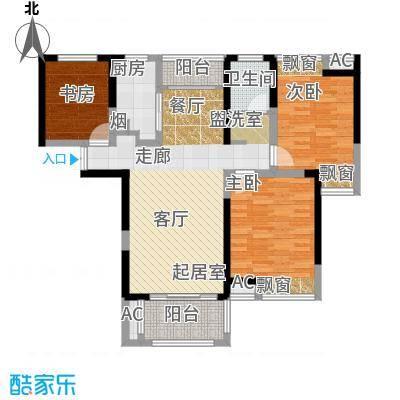 联发君悦湖106.00㎡C2户型3室2厅1卫