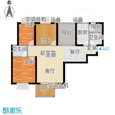 曲江明珠124.00㎡6号楼西户124平米户型3室2厅2卫