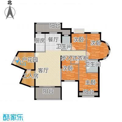 信基城176.09㎡B2+工人房+超大入户花园+三阳台户型4室1厅2卫1厨