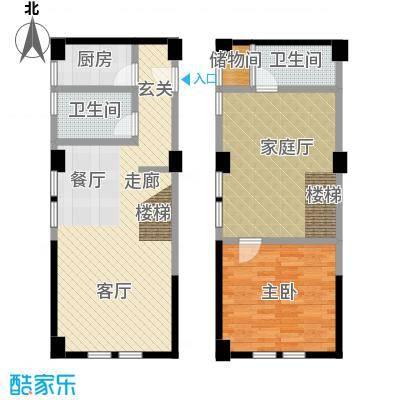 UPUP公寓61.64㎡B户型双层户型1室3厅2卫LL
