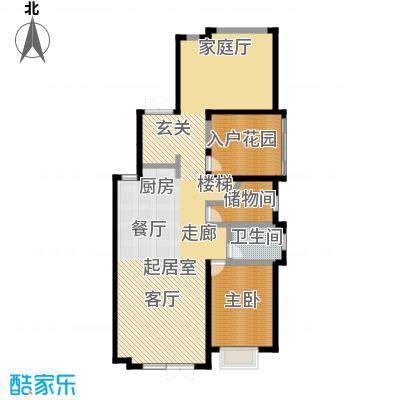滨海湖130.00㎡滨海湖双拼B一层户型图1室2厅2卫1厨130.00平米户型1室2厅2卫