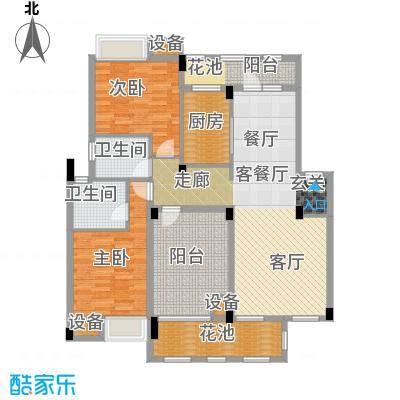 万科红郡114.00㎡3B户型 两房两厅两卫户型2室2厅2卫