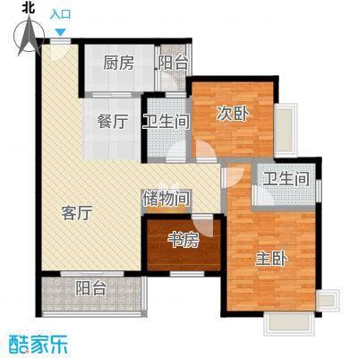 中房千寻82.59㎡A1双卫双阳台带院馆可变户型3室1厅2卫1厨