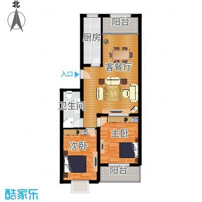 龙昌滨河源98.93㎡3B户型2室1厅1卫1厨