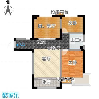 泰达风景92.62㎡瞰景系小高层户型2室2厅1卫
