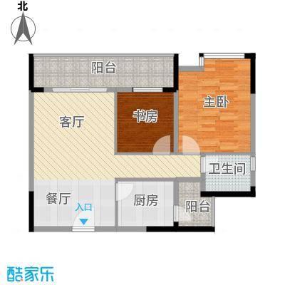 天怡碧桂苑62.40㎡一期1、2号楼标准层户型2室1厅1卫1厨