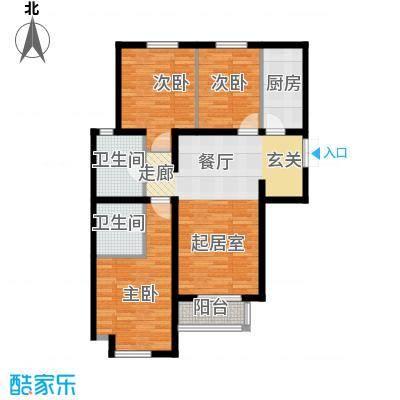 泰达时尚旺角126.00㎡A2标准层户型3室2厅2卫