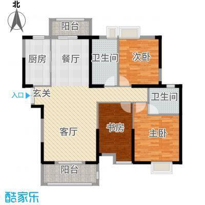 联投半岛133.54㎡A1户型3室2厅2卫