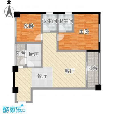 兰波红城丽景78.81㎡二期A3栋标准层B5'7号房户型2室1厅2卫1厨