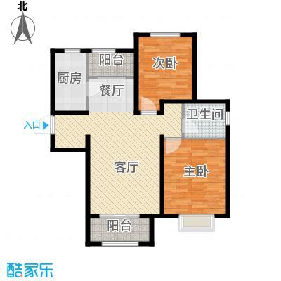 溪谷港湾99.45㎡E-3户型2室1厅1卫1厨