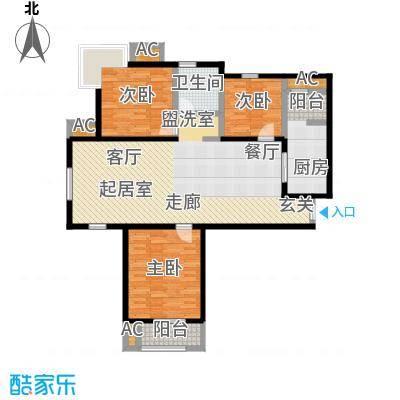 金海湾公寓122.60㎡3、4号楼标准层三室二厅一卫户型-T