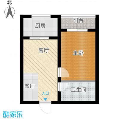 东方花园54.07㎡D户型1室1厅1卫1厨