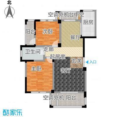 现代森林小镇金融SOHO垂直商业97.74㎡一期A1户型 二房二厅一卫户型