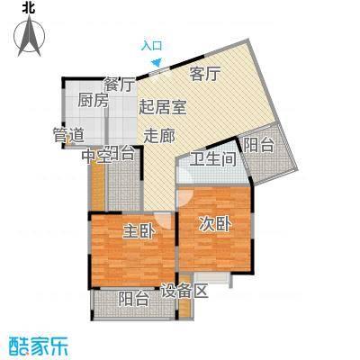 塞纳河畔小区89.93㎡E户型 2室2厅1卫户型2室2厅1卫