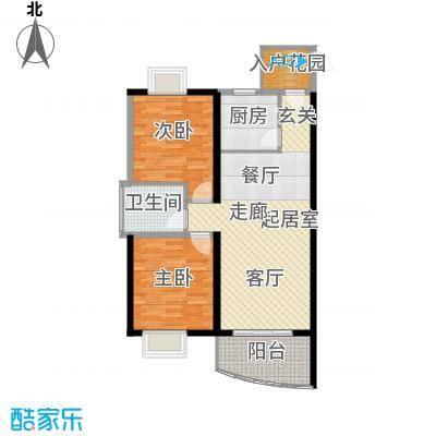 天邑宏御花园80.56㎡5-7栋A1单卫户型2室1卫1厨