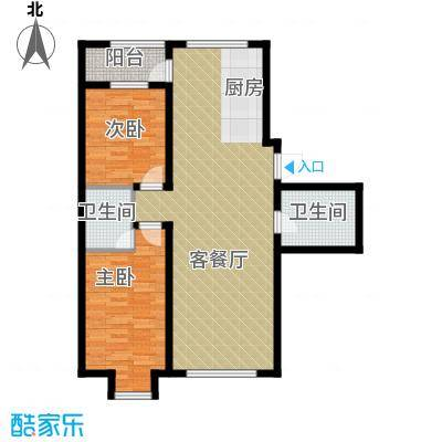 五矿万泉公元113.34㎡二期4-D户型2室2厅2卫