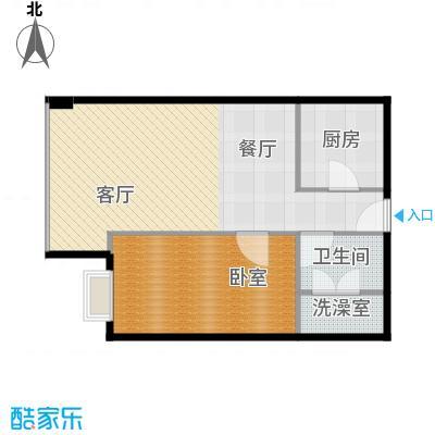 昆仑中心80.00㎡一期一号楼标准层户型1室2厅1卫