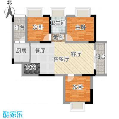 左岸美邻88.11㎡2、3栋4-12楼C1户型3室1厅1卫1厨