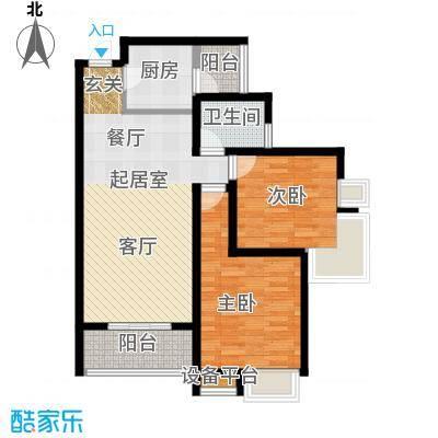 金旅城88.45㎡两室两厅一卫B1户型2室2厅1卫