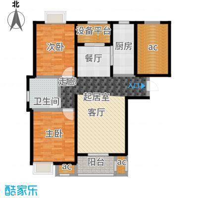 保利玫瑰湾91.00㎡B1两室两厅一卫户型