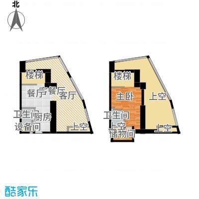 中惠熙元广场72.00㎡loft户型 72平米户型1室1厅1卫