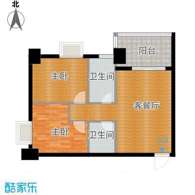 御笔华府80.12㎡4号楼西单元1号房两室户型2室1厅2卫