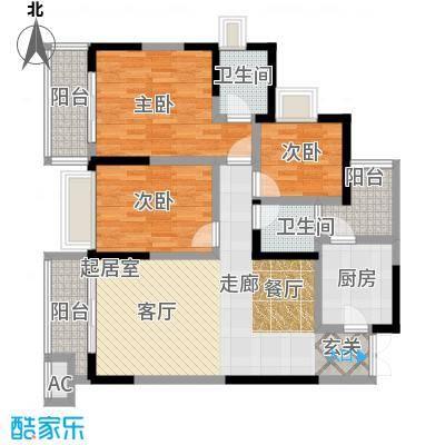 融汇温泉城锦华里F户型3室2卫1厨