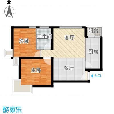 北京奥林匹克花园71.22㎡ⅢB1边2户型2室2厅1卫
