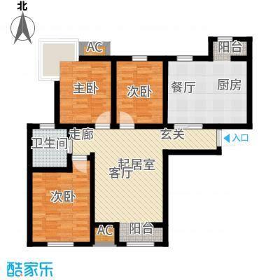 金海湾公寓125.86㎡5号楼标准层三室二厅一卫户型