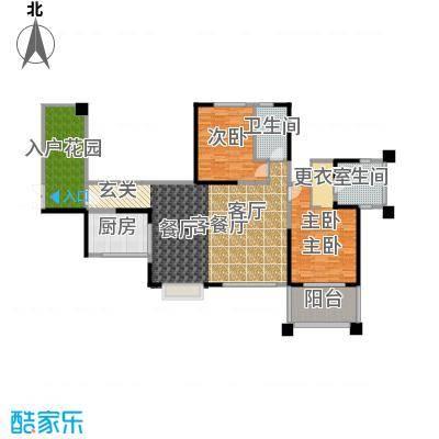 长城半岛城邦111.00㎡B2奇数层户型2室1厅2卫1厨